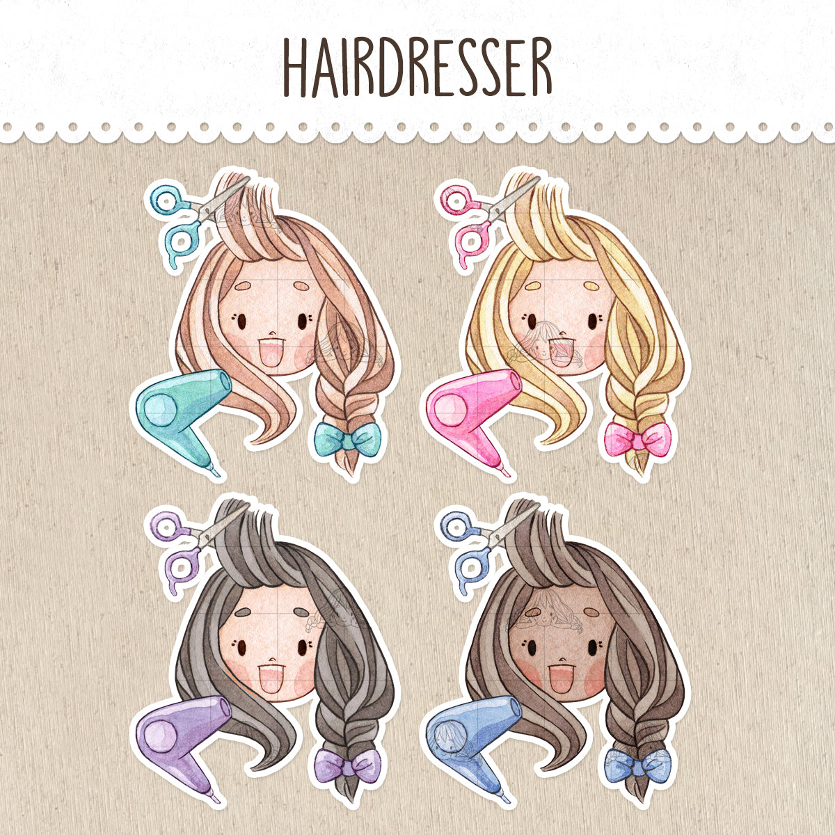 Hairdresser, Hairstyle, Haircut Stickers ~Kawaii girls~