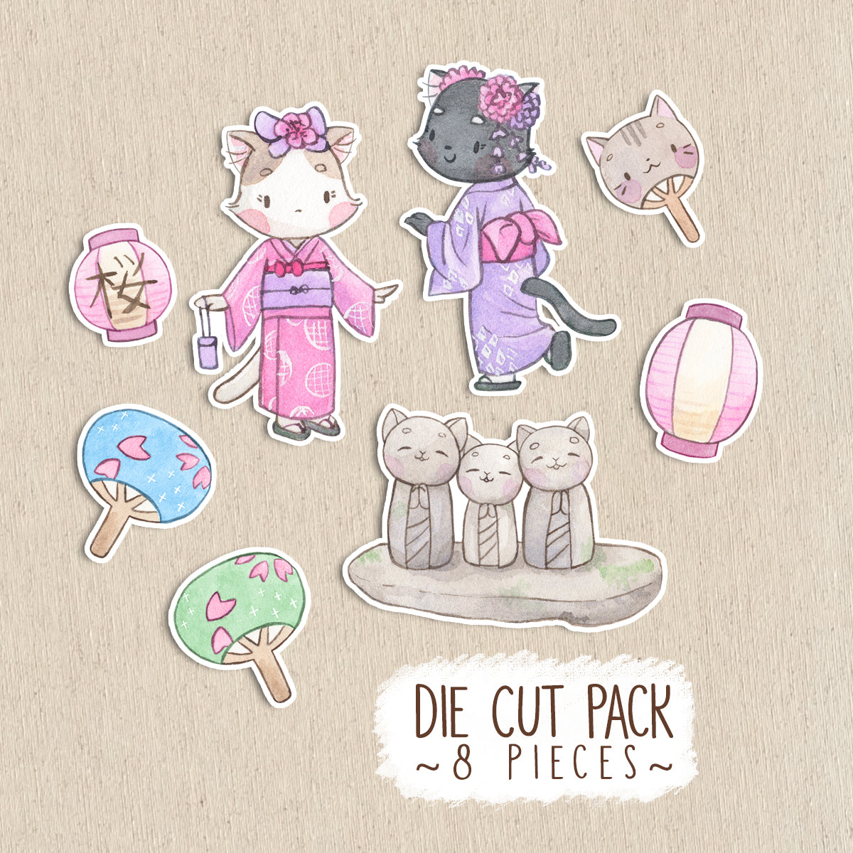 Die Cut Pack 8 pieces Cardboard or Sticker ~ Hanami Cats