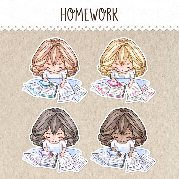 Homework / Study Stickers ~Kawaii girls~