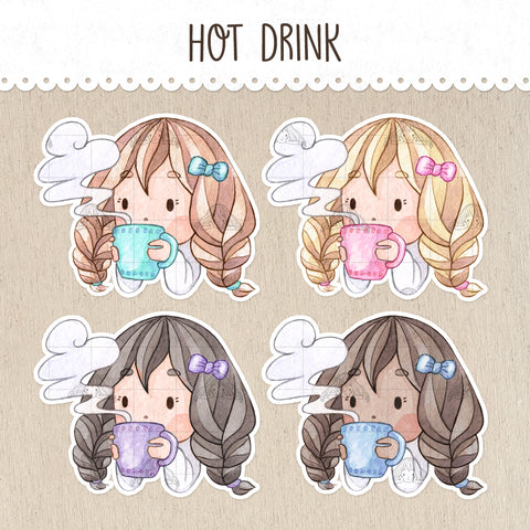 Steaming Hot Drink Stickers ~Kawaii girls~