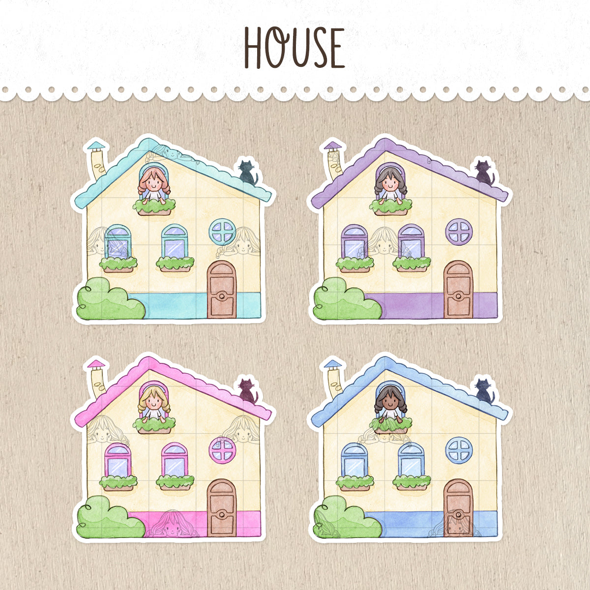 House Stickers ~Kawaii girls~
