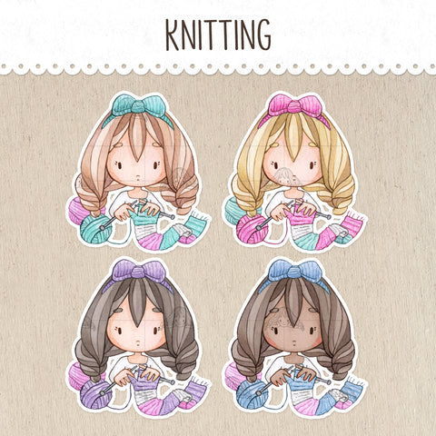 Knitting, Crocheting Stickers ~Kawaii girl: Vera, Valerie and Violet~