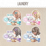 Laundry Day Decorative Stickers ~Kawaii girl: Vera, Valerie and Violet~