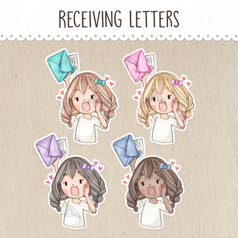 Receiving Letters, Happy Mail Decorative Stickers ~Kawaii girl: Vera, Valerie and Violet~