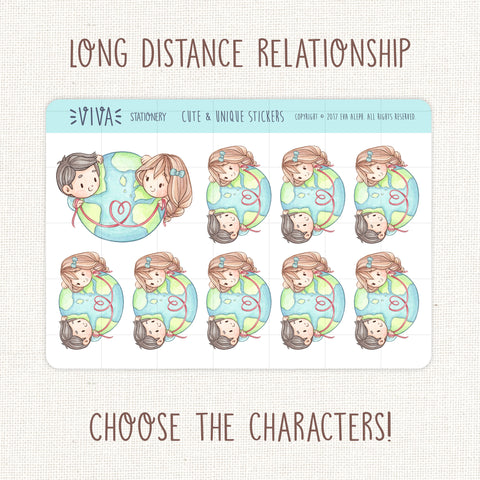 Long Distance Relationship Decorative Stickers ~ Customizable Characters!