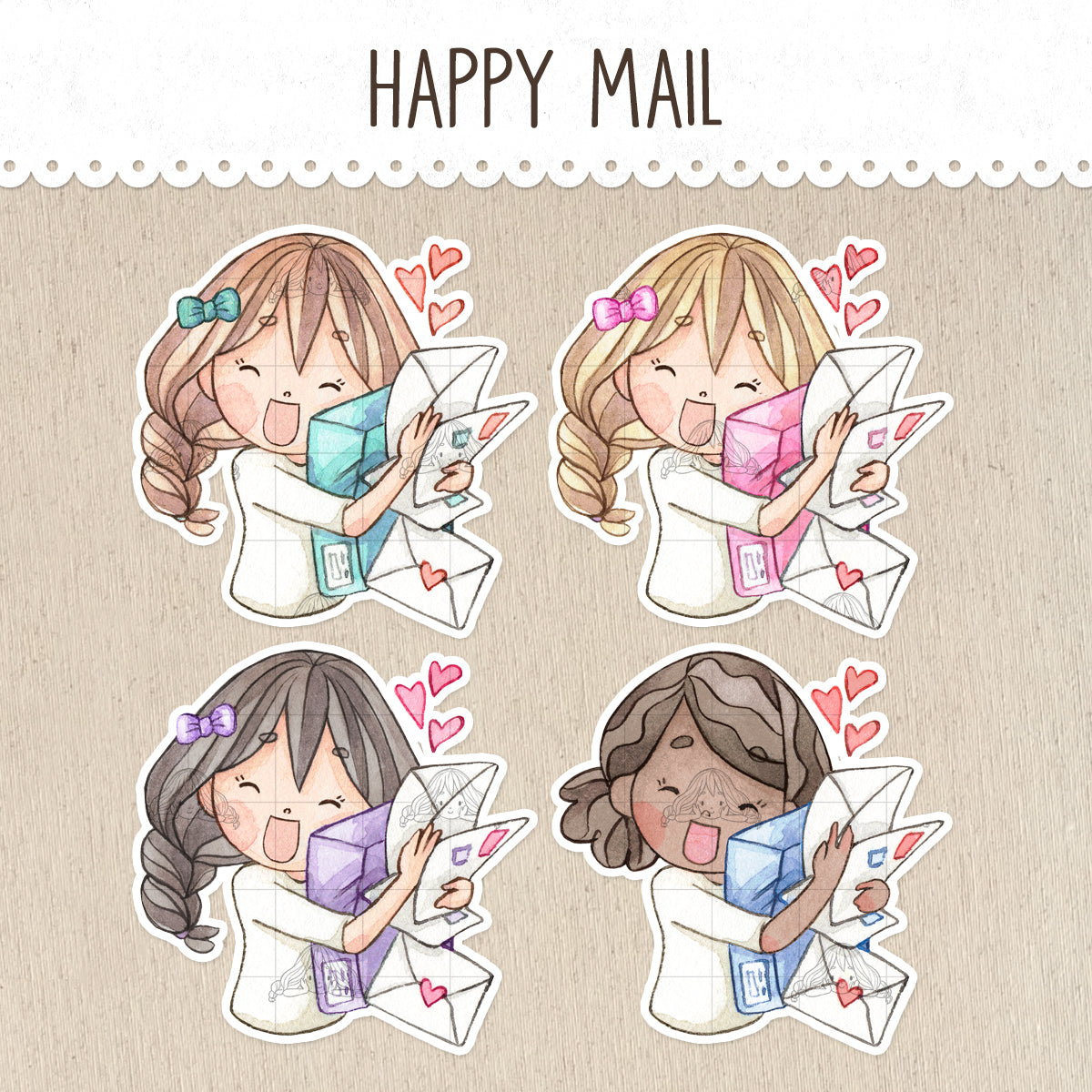Receiving a Box of Happy Mail Decorative Stickers ~Kawaii girl: Vera, Valerie and Violet~