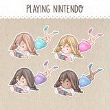 Playing Nintendo Switch Stickers ~Kawaii girl: Vera, Valerie and Violet~