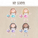 No School Stickers ~Kawaii girls~