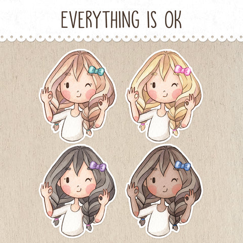 Everything is OK Stickers ~Kawaii girls~