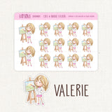 Painting a Picture Stickers ~Kawaii girl: Vera, Valerie and Violet~