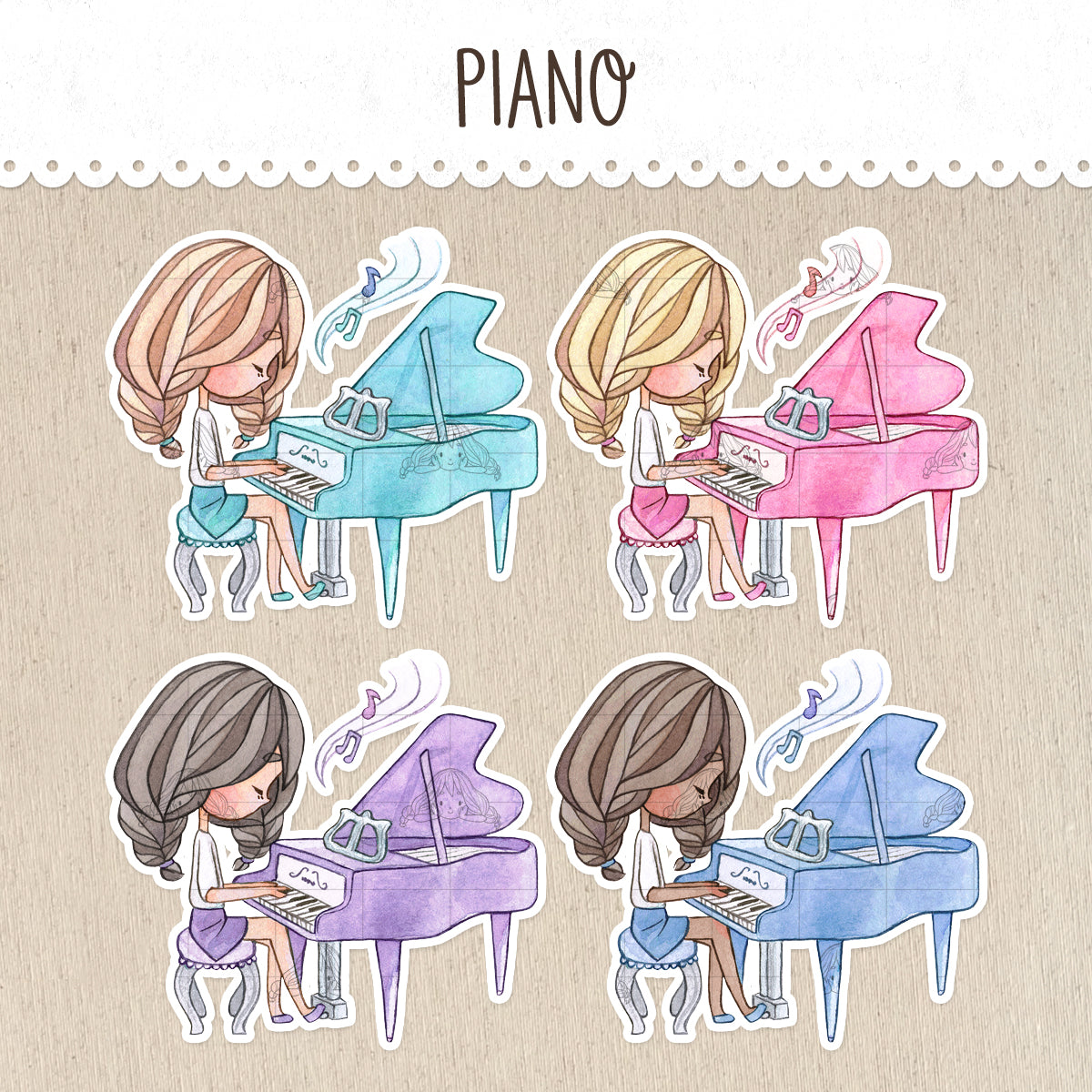 Piano Class Stickers ~Kawaii girls~
