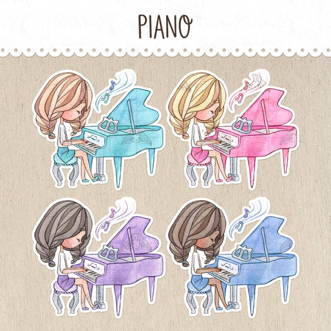 Piano Class Decorative Stickers ~Kawaii girl: Vera, Valerie and Violet~
