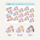 Floral Planner Lover Stickers ~Kawaii girl: Vera, Valerie and Violet~