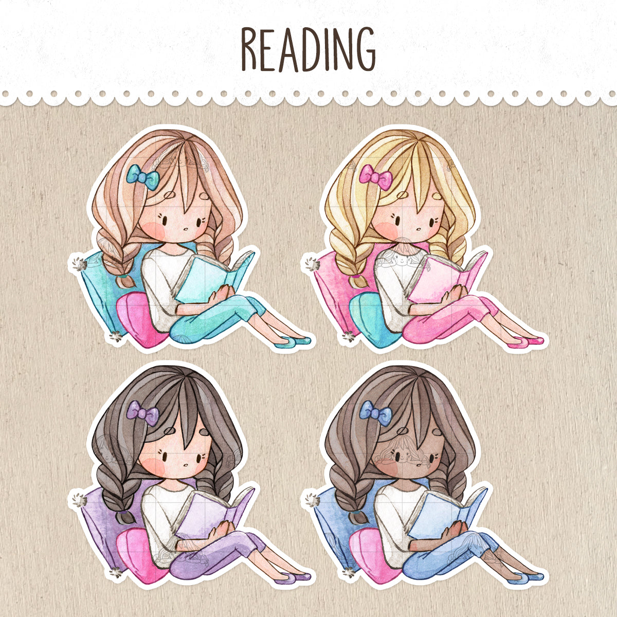 Reading Time, Book Lover Decorative Stickers ~Kawaii girl: Vera, Valerie and Violet~