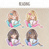 Reading Time, Book Lover Stickers ~Kawaii girls~