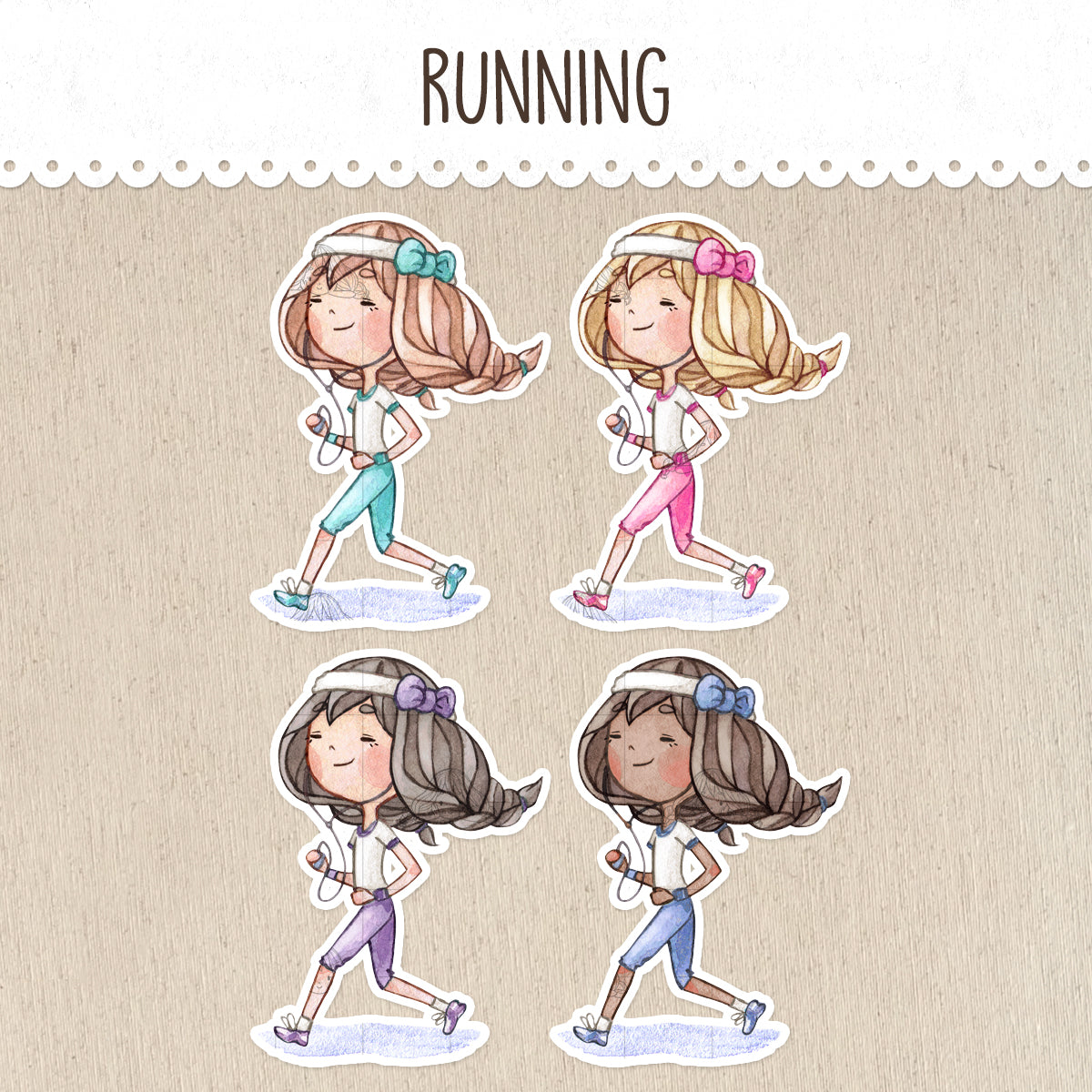Runner, Running a Marathon Stickers ~Kawaii girls~