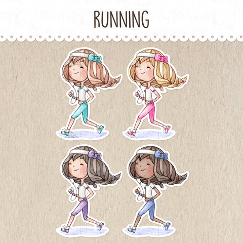 Runner, Running a Marathon Decorative Stickers ~Kawaii girl: Vera, Valerie and Violet~