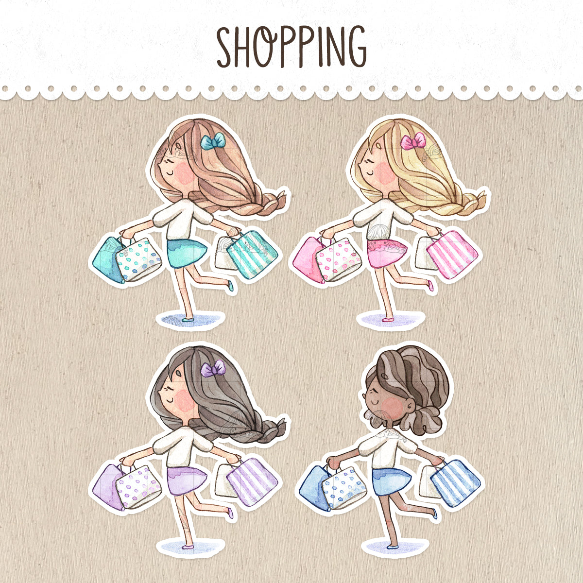 Shopping Day Decorative Stickers ~Kawaii Girl: Vera, Valerie and Violet~