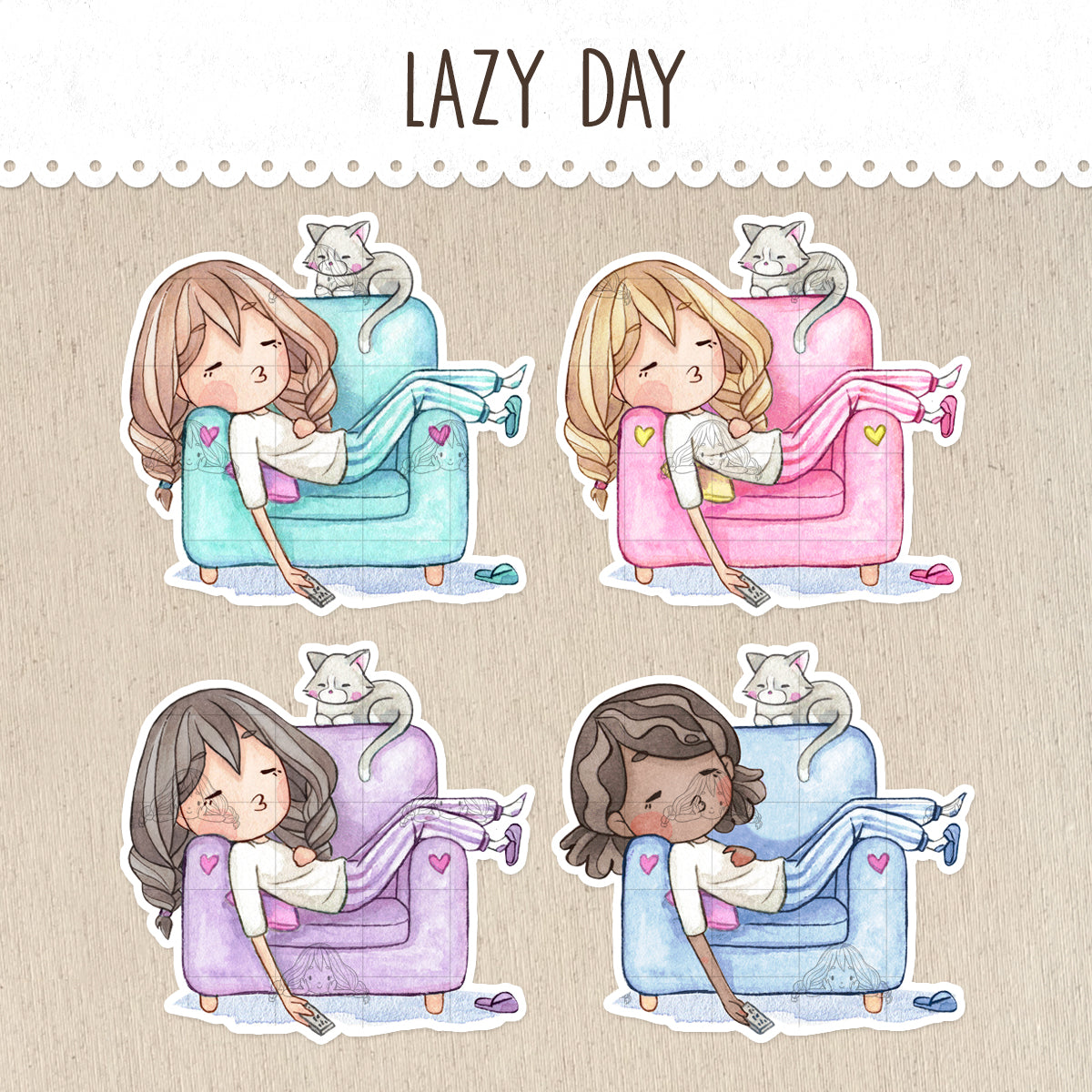 Lazy Day, Nap on the Couch Decorative Stickers ~Kawaii girl: Vera, Valerie and Violet~
