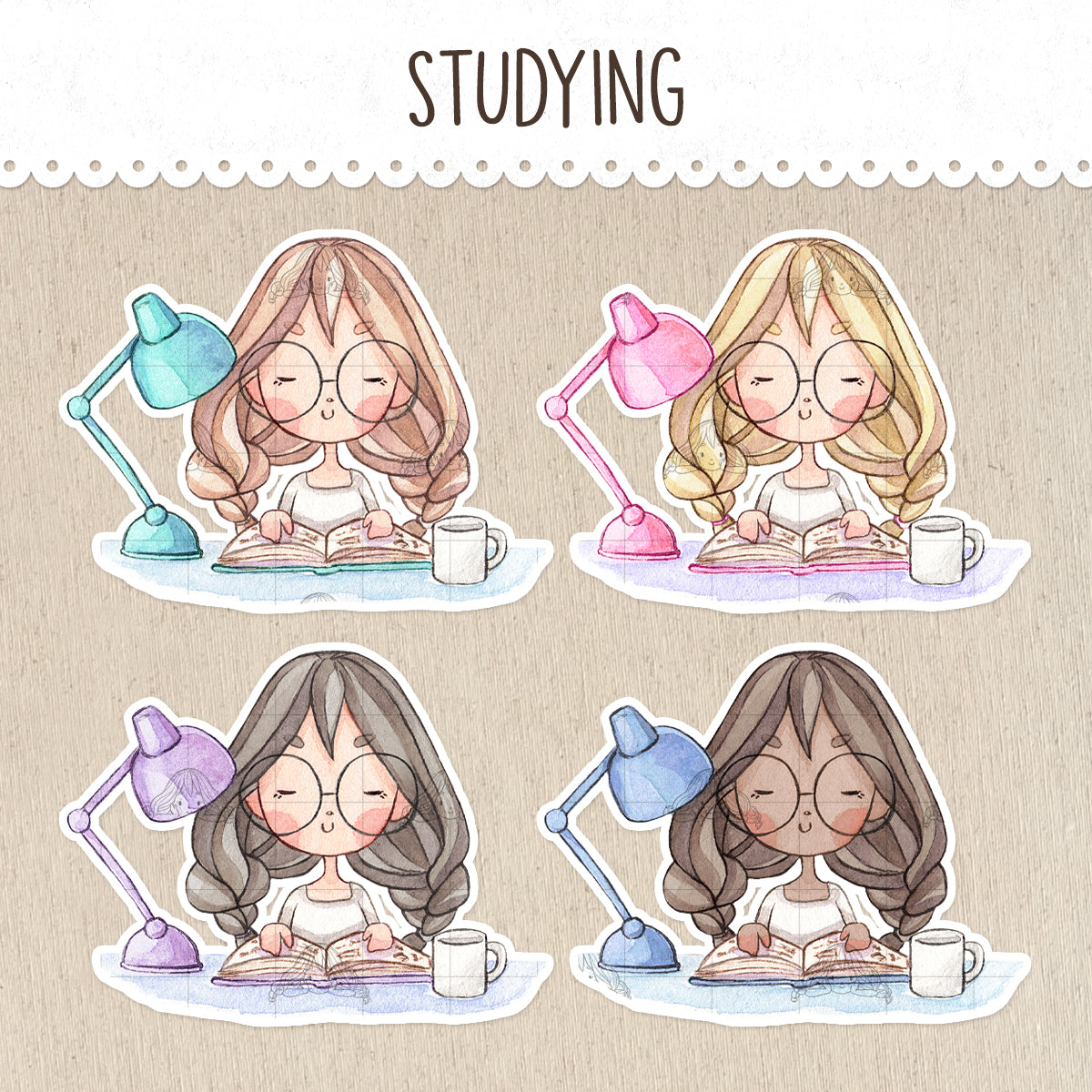 Study Time Decorative Stickers ~Kawaii girl: Vera, Valerie and Violet~