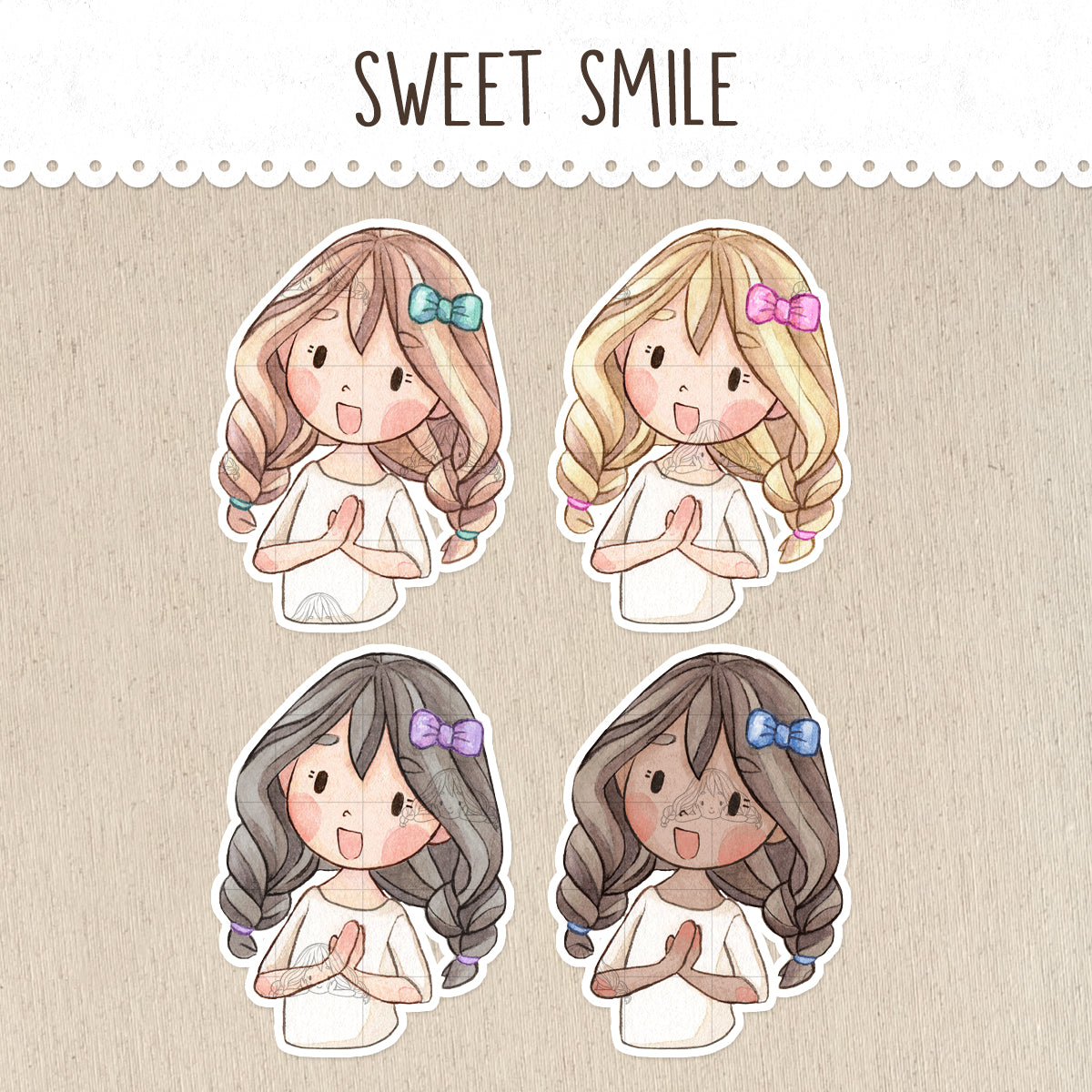 Sweet Smile Decorative Stickers ~Kawaii Girl: Vera, Valerie and Violet~