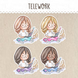 Remote Work, Teleworking Stickers ~Kawaii girl: Vera, Valerie and Violet~