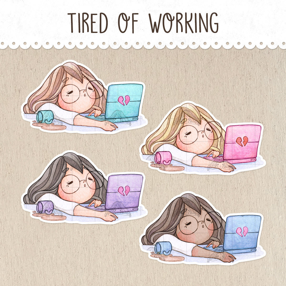 Working extra hours, Tired, Bored Decorative Stickers ~Kawaii girl: Vera, Valerie and Violet~