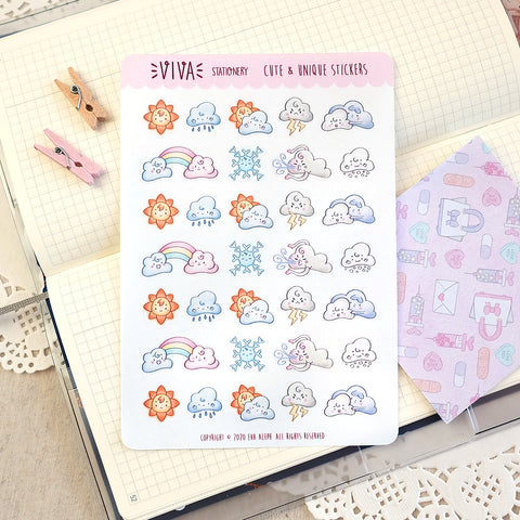 Weather Decorative Stickers ~ Mixed Regular Sheet