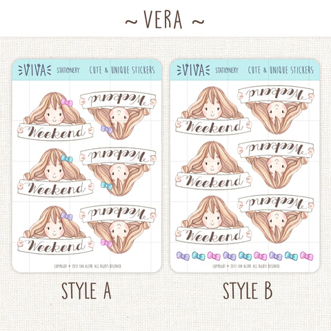 Weekend Banner Stickers ~Kawaii girl: Vera, Valerie and Violet~