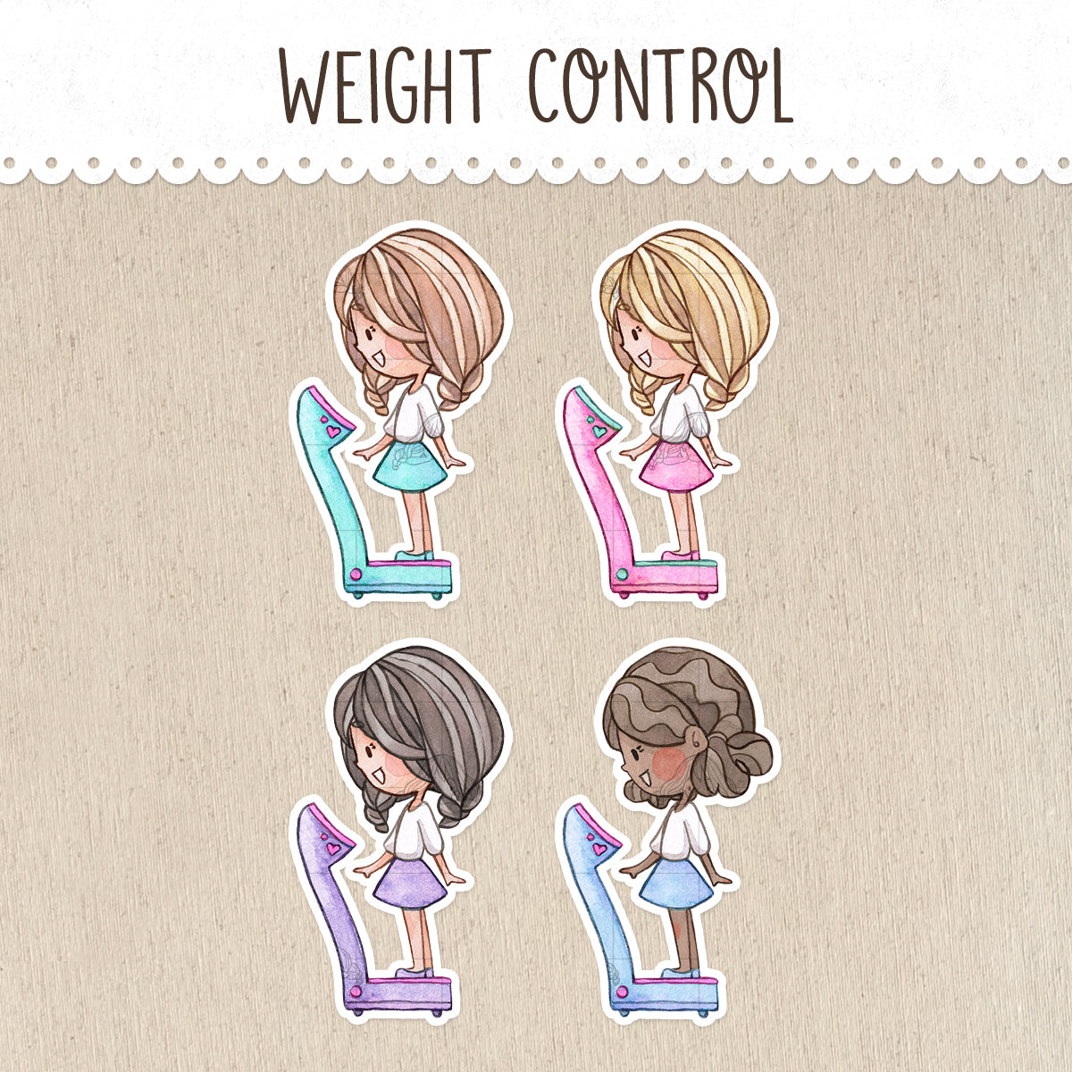 Weight Control Stickers ~Kawaii girls~