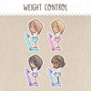 Weight Control Stickers ~Kawaii girl: Vera, Valerie and Violet~