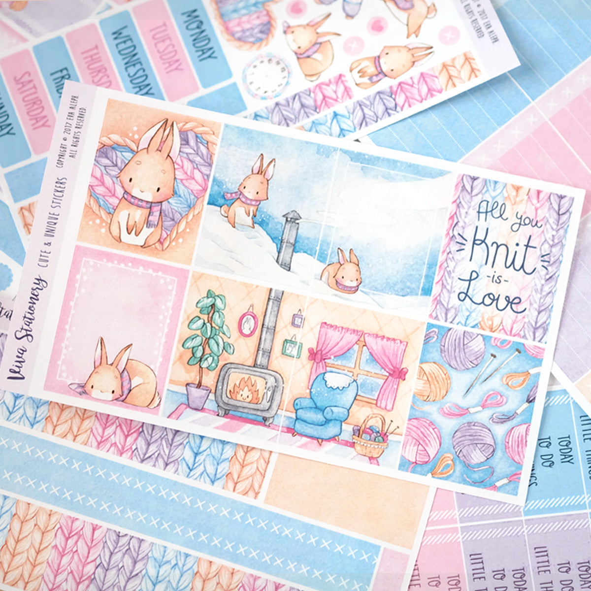 "All you knit is love...  ~ ""A la Carte"" Weekly Sticker Kit"