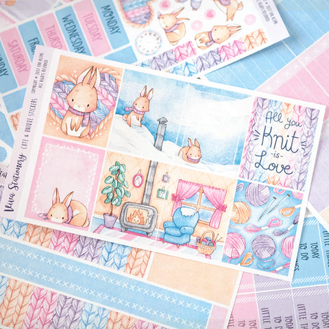 "All you knit is love...  ~ ""Full 6 sheets"" Weekly Sticker Kit"