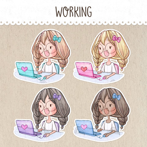 Time to Work Decorative Stickers ~Kawaii girl: Vera, Valerie and Violet~