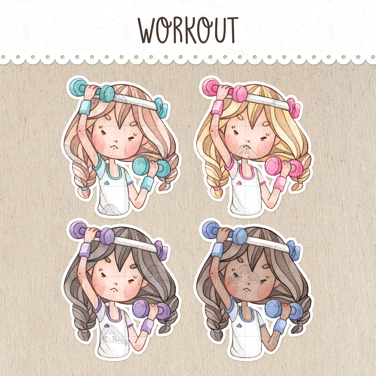 Workout, Weightlifting Stickers ~Kawaii girls~