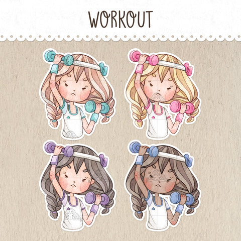 Workout, Weightlifting Decorative Stickers ~Kawaii girl: Vera, Valerie and Violet~