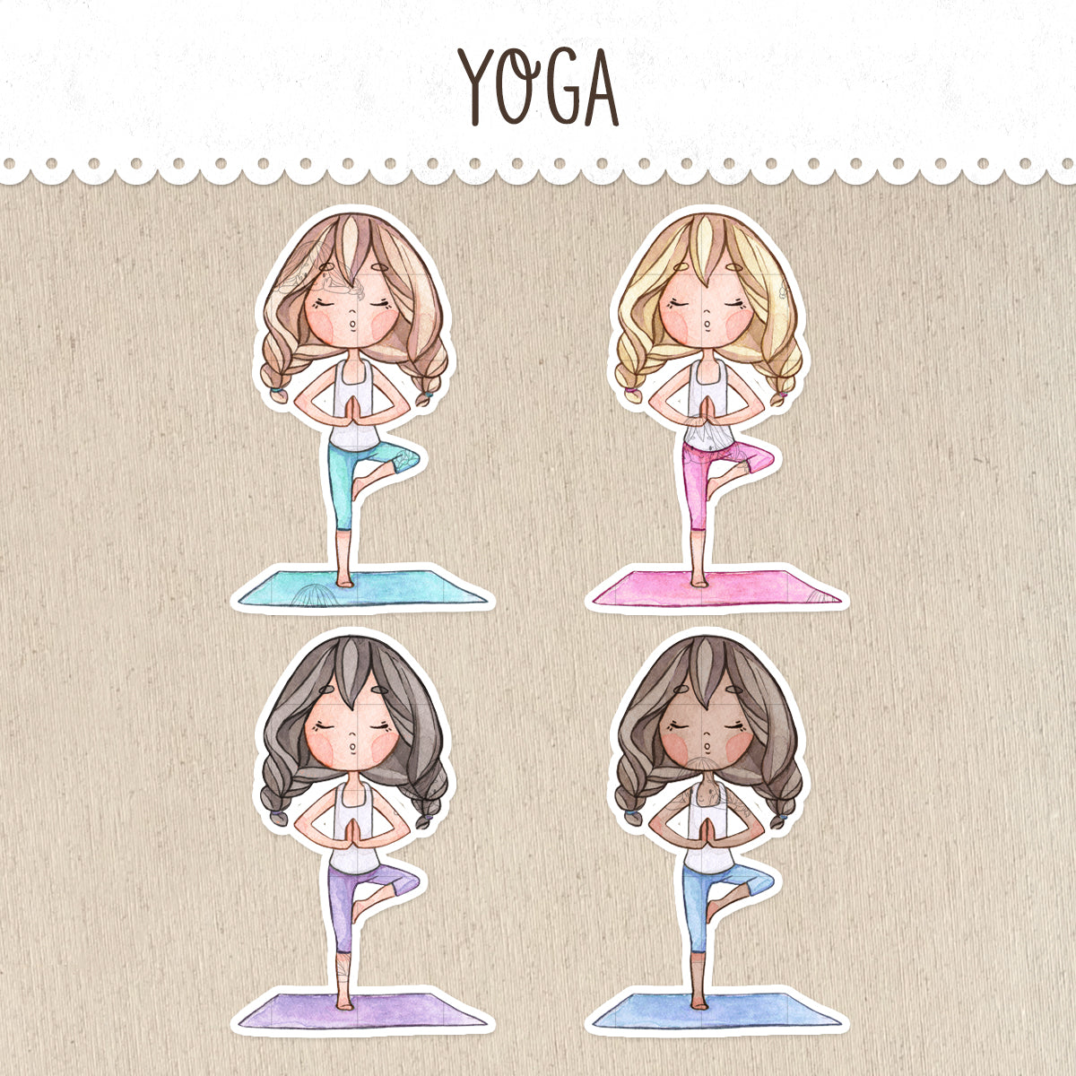 Yoga Class Decorative Stickers ~Kawaii girl: Vera, Valerie and Violet~