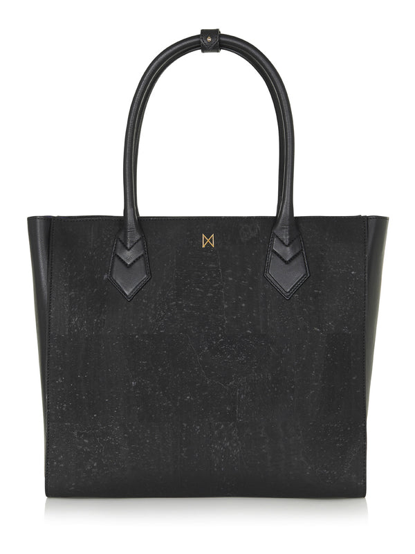 Amalia Tote - Black Leather and Cork