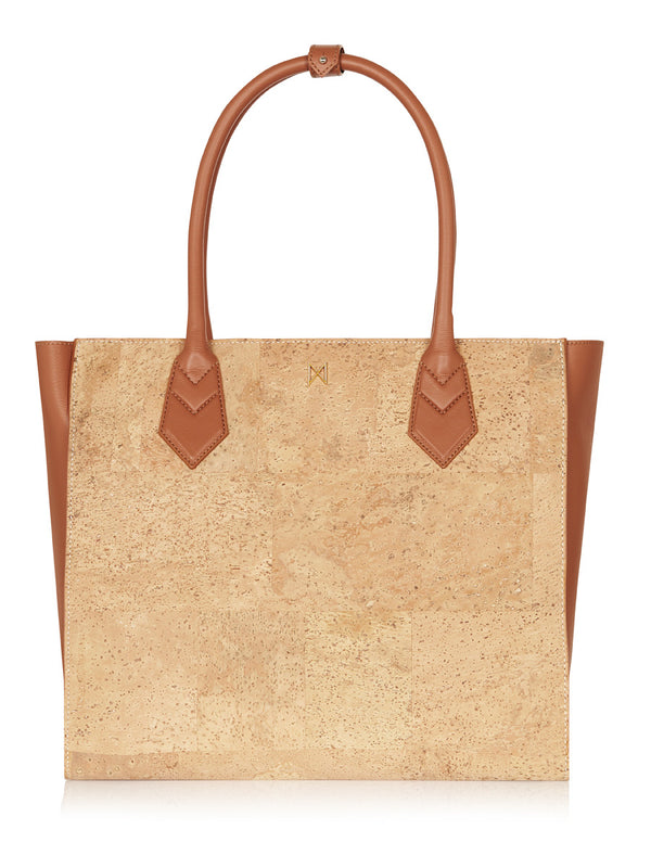 Amalia Tote - Tan Leather, Natural Cork