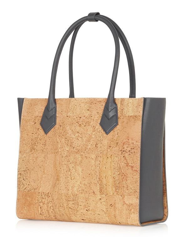 Amalia Tote -  Grey Leather, Natural Cork