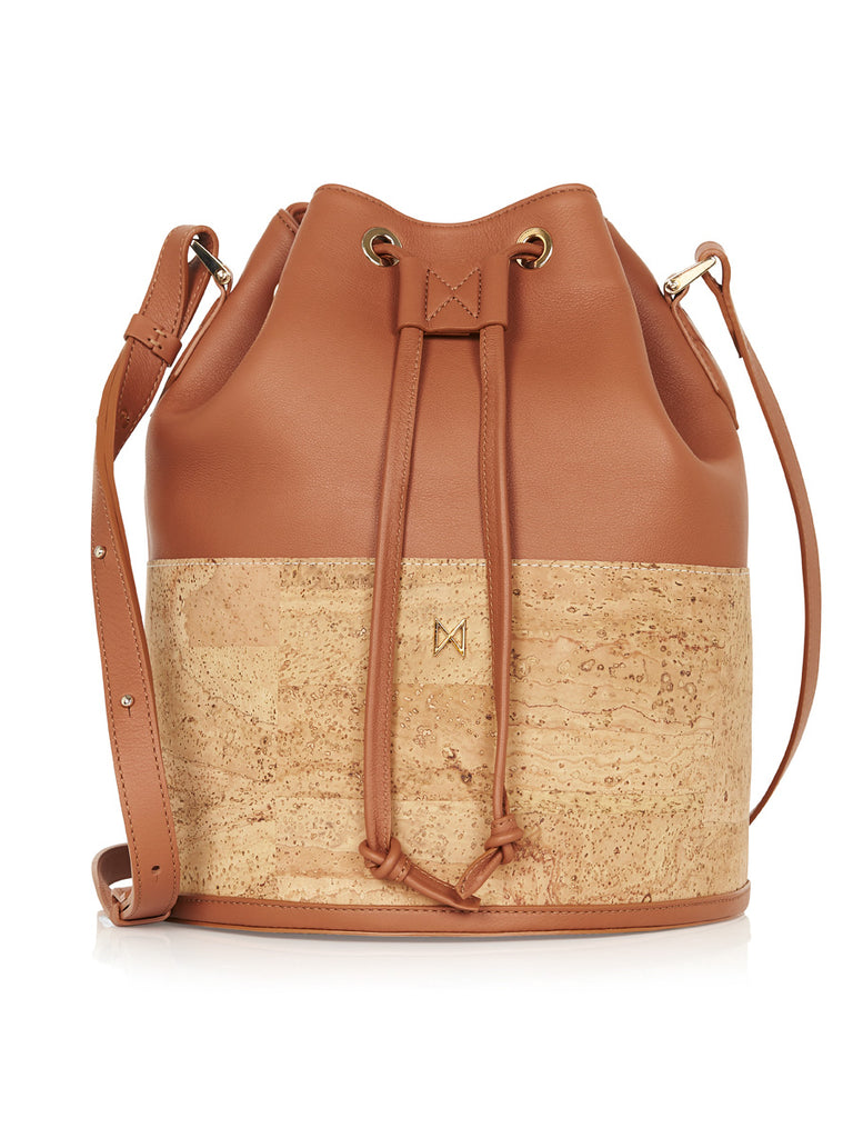 Sadie Bucket - Tan Leather, Natural Cork