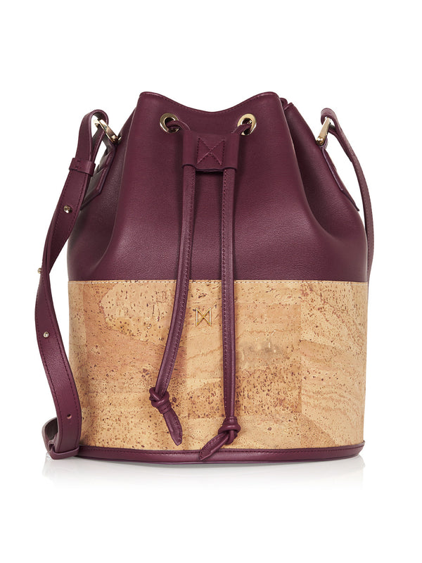 Sadie Bucket - Aubergine Leather, Natural Cork