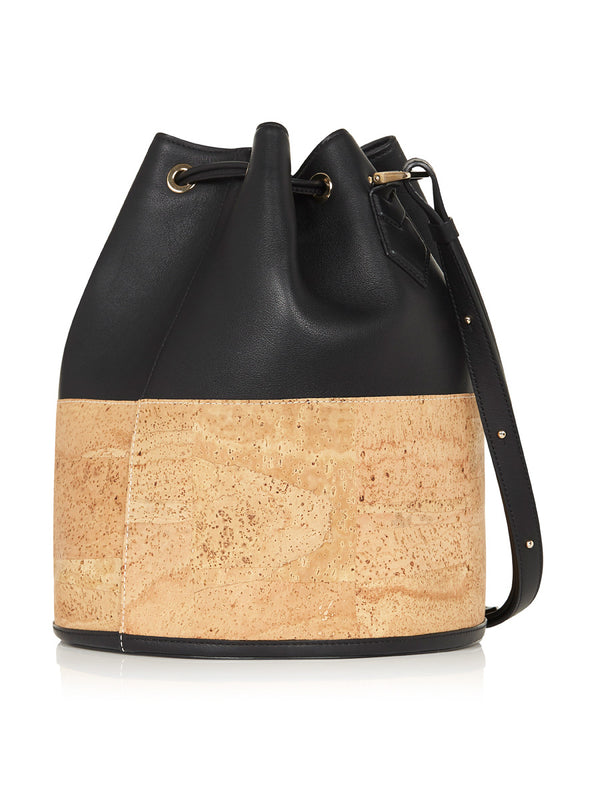 Sadie Bucket - Black Leather, Natural Cork