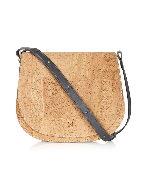 Sienna Shoulder - Grey Leather, Natural Cork