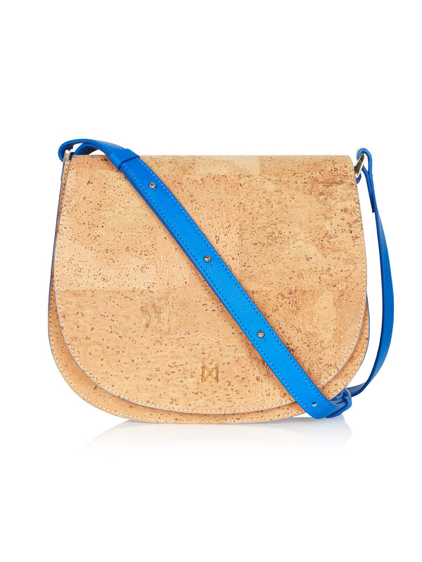 Sienna Shoulder - Aqua Blue Leather, Natural Cork