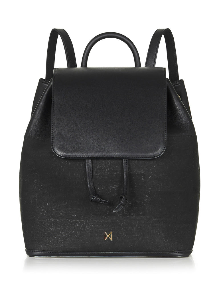 Camila Backpack - Black Leather and Cork
