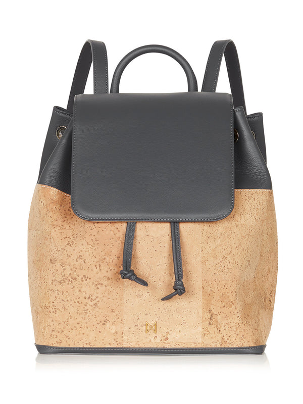 Camila Backpack - Grey Leather, Natural Cork