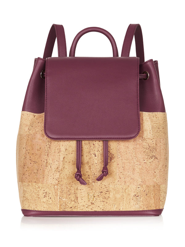 Camila Backpack - Aubergine Leather, Natural Cork