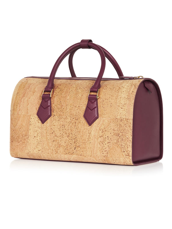 Catia Speedy - Aubergine Leather, Natural Cork