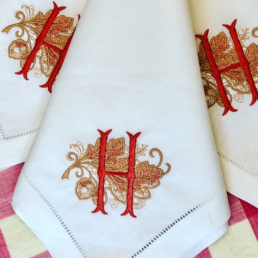 Hemstitched Linen Napkins - Fall Design